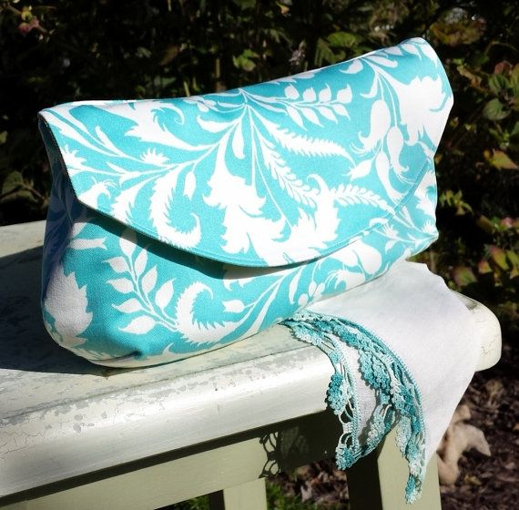 The Hadley Clutch Fabric Purse by Sew Bee It Clothier on Etsy - Perfect Bridesmaid Gift - Aqua Floral Pattern Clutch