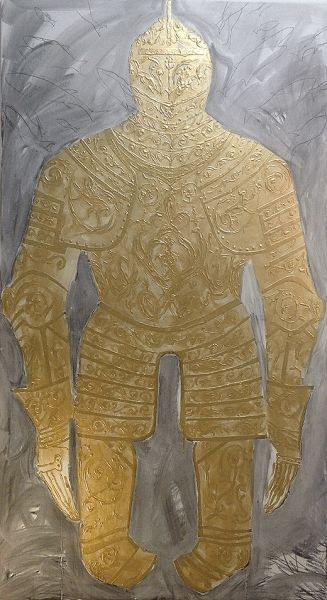ARMOR II, 2016, acrylic and carbon on canvas, 150 x 87 cm. #armor #metal #soldier #harnes #gold #contemporaryart #art #kunst #konst