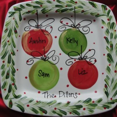 christmas plate pottery - Google Search