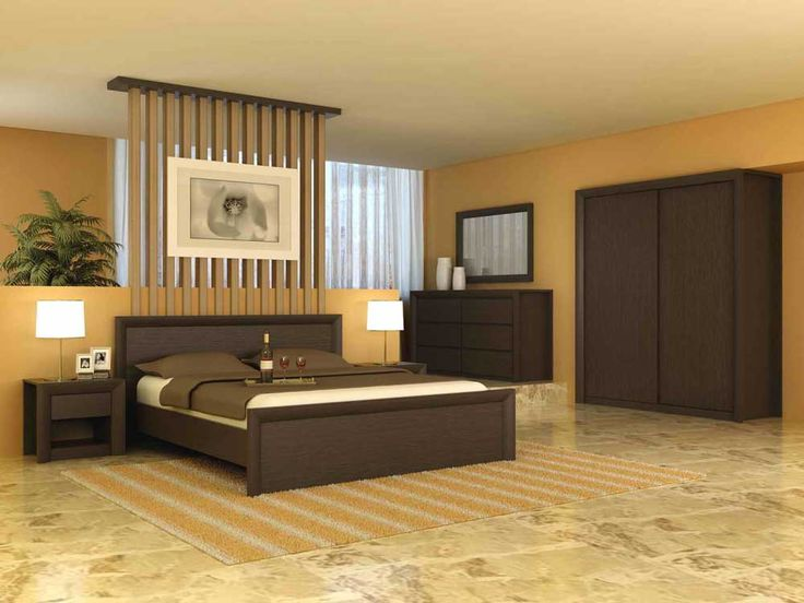 Simple Cupboard Designs for Bedrooms with dark brown wooden bed frames and headboard also white brown colors covered bedding sheets and pillows