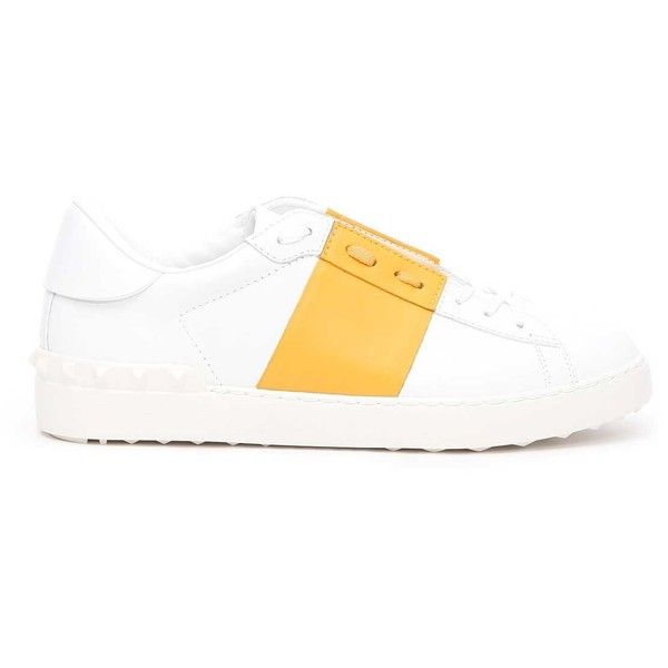 Valentino Garavani Open Low Top Sneaker (£330) ❤ liked on Polyvore featuring shoes, sneakers, bianco, valentino trainers, low profile sneakers, valentino sneakers, low profile shoes and valentino shoes
