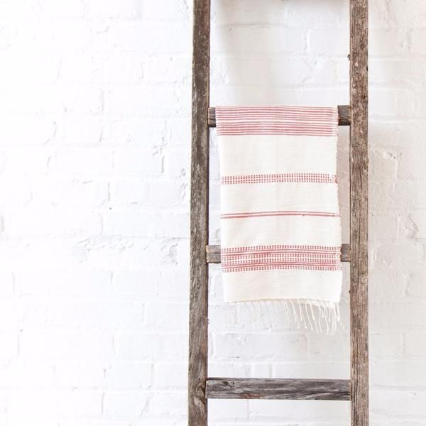 Ethiopian cotton hand towel in adobe stripes | Ethiopia | TWENTY ONE TONNES