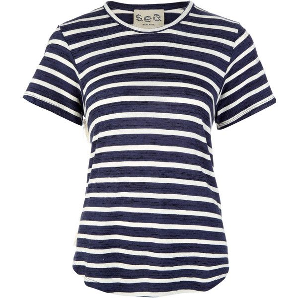 Sea Ny Navy and White Striped Jersey and Lace T-Shirt (£100) ❤ liked on Polyvore featuring tops, t-shirts, shirts, round neck t shirt, lace t shirt, stripe tee, jersey tee and striped tee