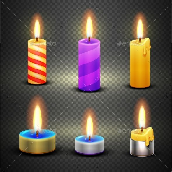 Different Candles With Flame Vector Set Isolated