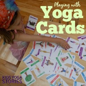 List of nine different #yogagames to play with yoga cards