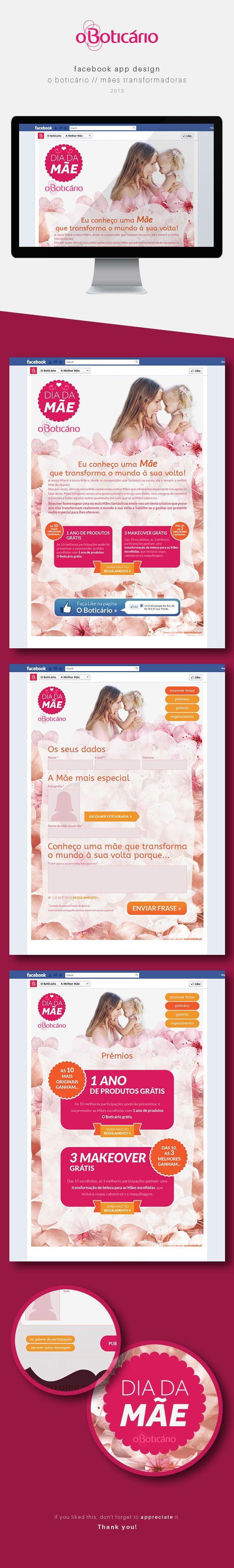 Facebook App O Boticário Dia da Mãe by Andrea Sousa, via Behance #webdesign #facebookapp #beauty