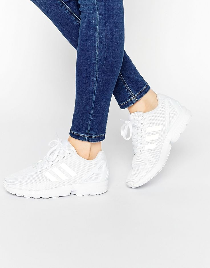 Image 1 of adidas Originals White ZX Flux Trainers