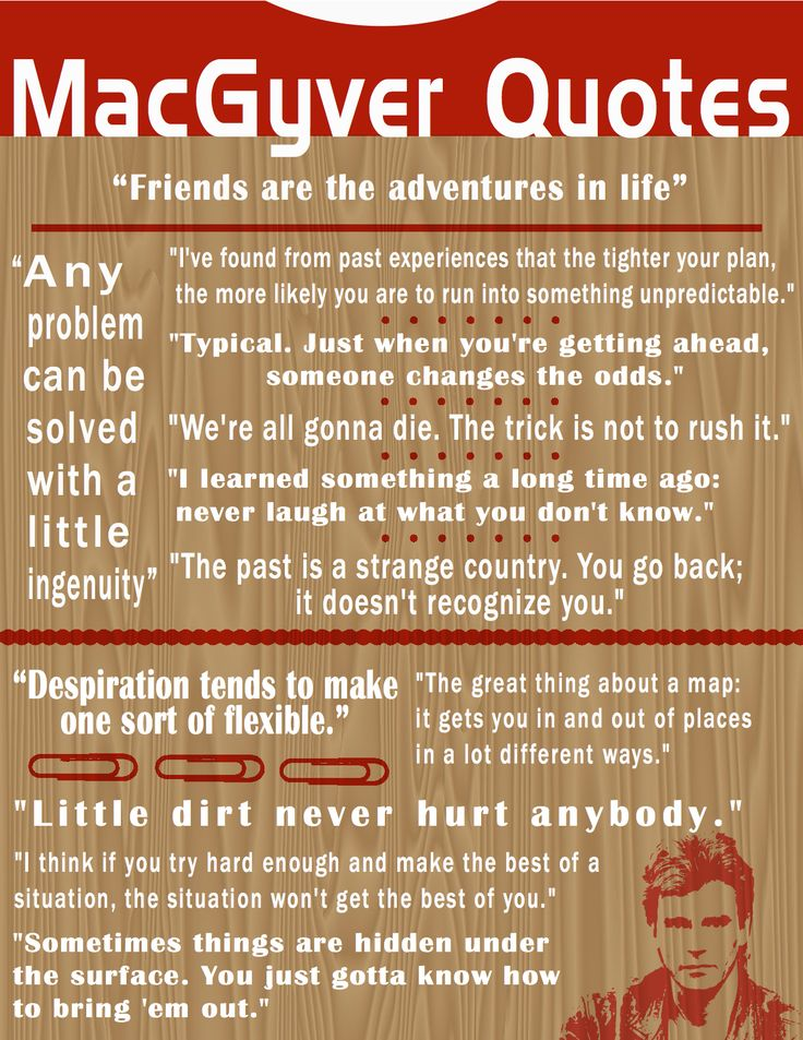 "MacGyver Quotes poster. I need this to hang on my wall. And I would add ""Man I hate heights!"" to the list. =D"