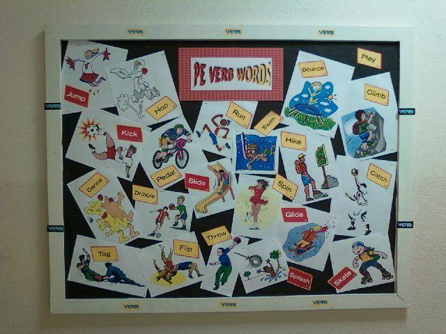 PE Verb Words Bulletin board