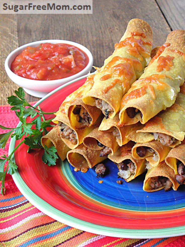 Oven Fried Mexican Turkey Taquitos  |  SugarFreeMom.com  ~  A healthier Cinco de Mayo dish!