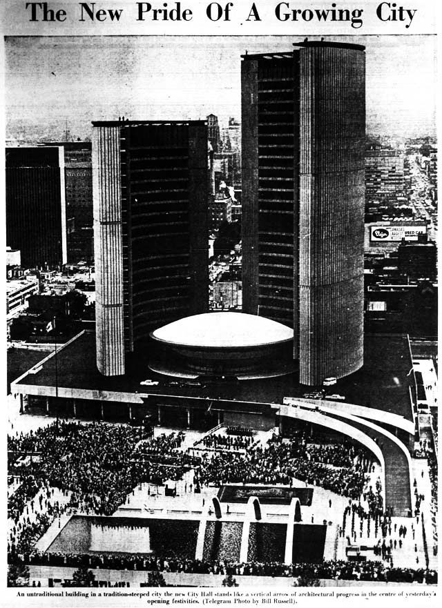 Toronto's new City Hall opened on September 13, 1965.  Source: the Telegram, September 14, 1965