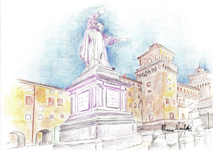 #Piazza Savonarola# Ferrara#marinamarchetti#disegni