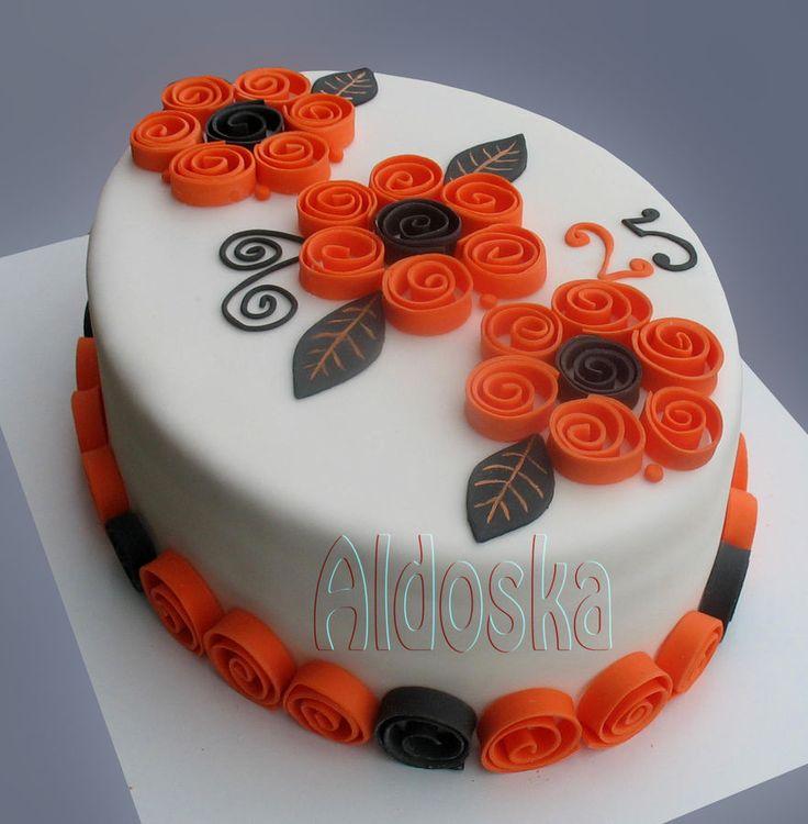 Spiral flowers — Birthday Cake Photos