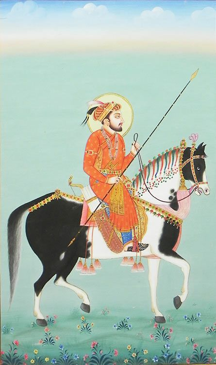 Mughal Emperor on Horse (Miniature Painting on Canvas - Unframed))