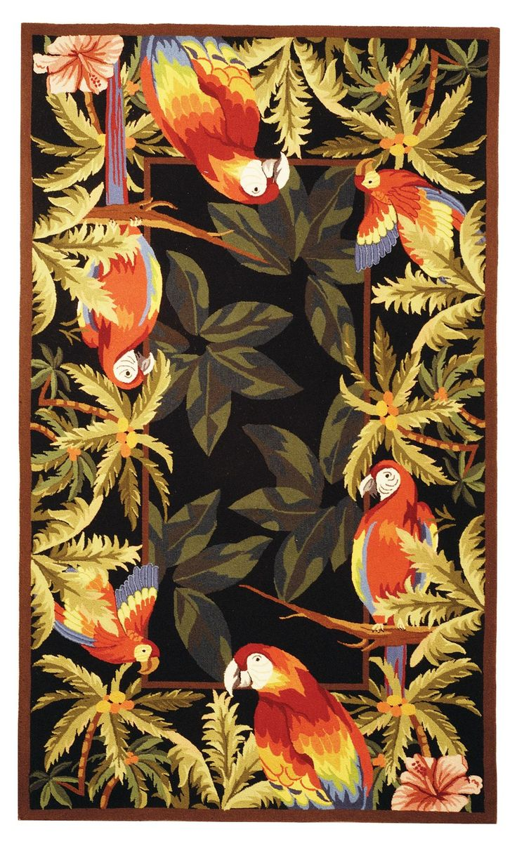 Tropical Area Rug with Parrots! Rugs Rugs Rugs!
