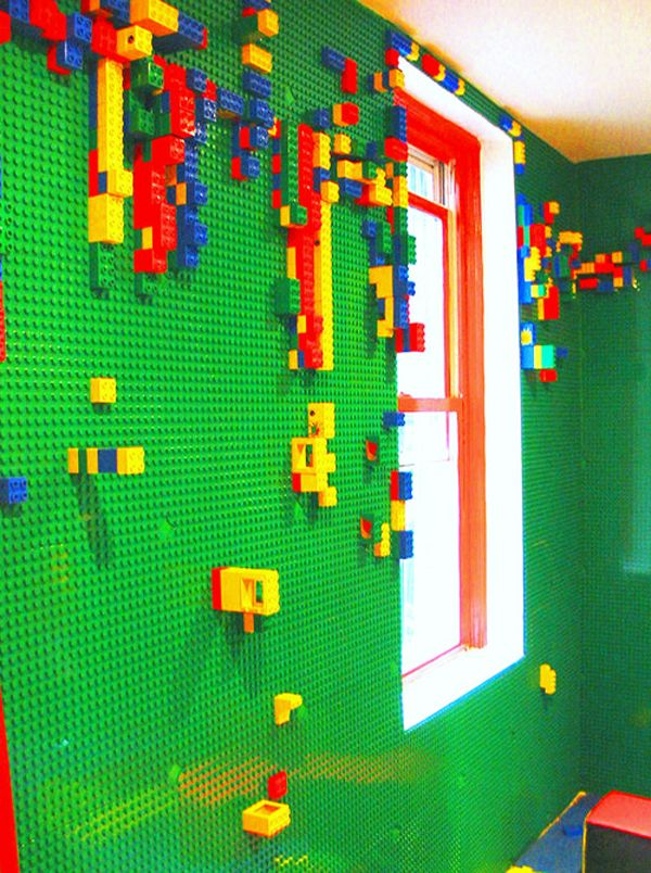 Lego wall room    Children can build from floor to ceiling in this LEGO-covered room.