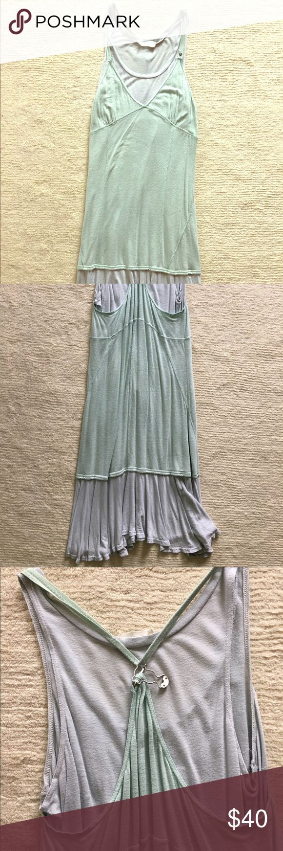 Diesel Dress Blue Size Small Cotton Light blue and sea foam green colors very pretty, flows, hipster, fits big, too big for me but good for someone with curves and full figure. Used, worm a few times. Diesel brand name. Diesel Dresses Maxi