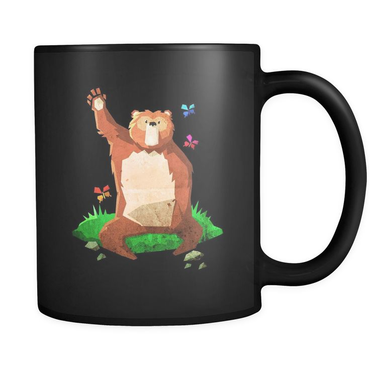 Cute Waving Bear - Big Bear Black 11oz Mug