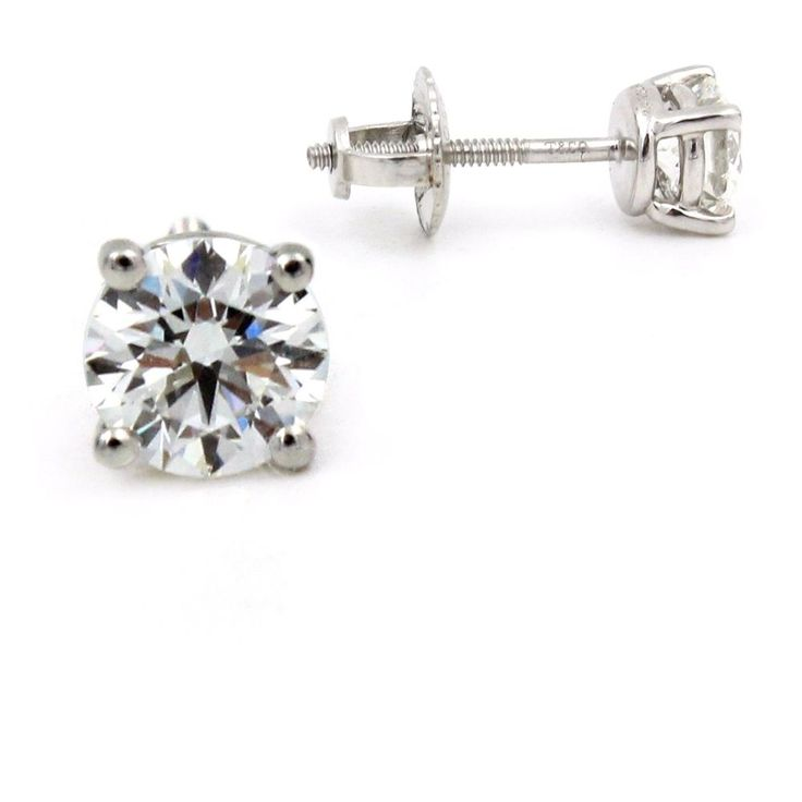Authentic Tiffany Co Solitaire Diamond Stud Earrings In Platinum 86ctw