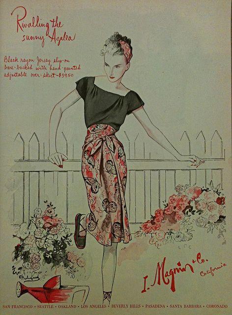 "I. Magnin ""Rivalling the sunny Azalea"", 1944. #vintage #1940s #summer #fashion"