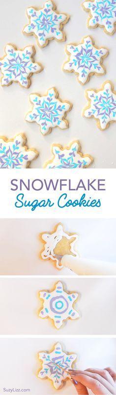 Easy snowflake decorating tutorial using royal icing and sugar cookies. Easy winter Holiday Christmas DIY