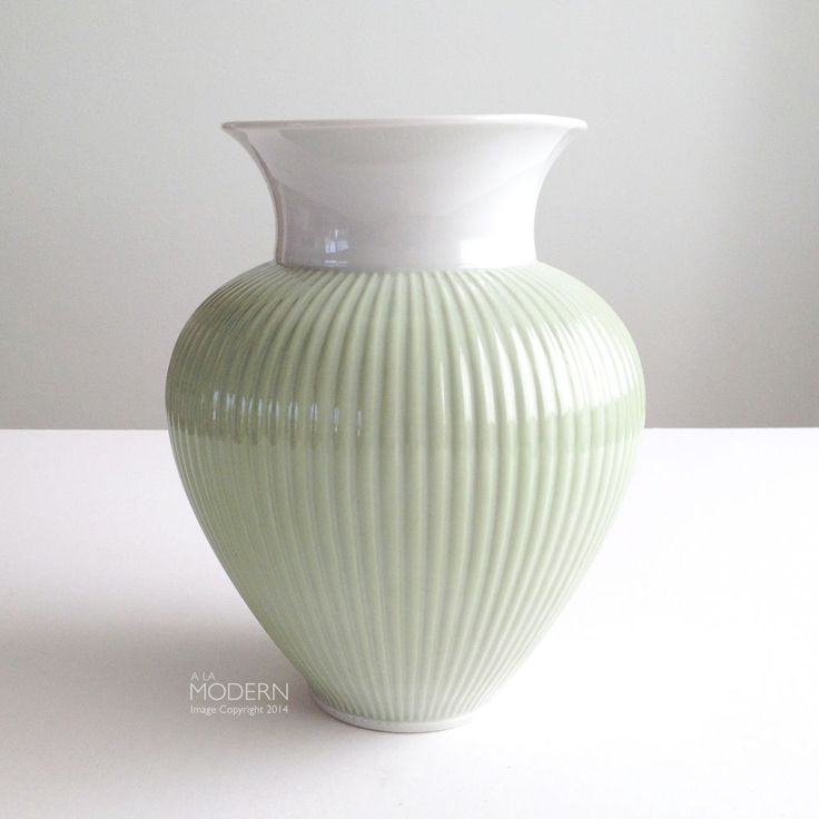 Metzler and Ortloff German Art Deco Style Ribbed Green Porcelain Vase