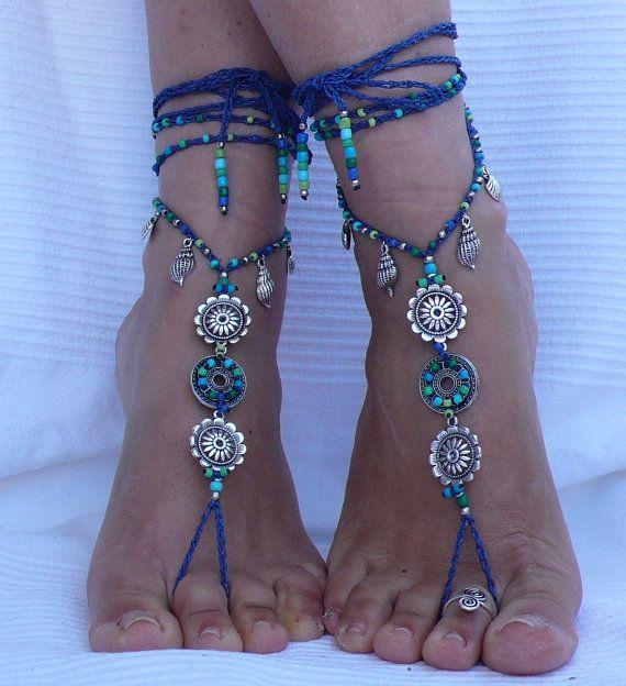 SANDALI a piedi nudi acquario MANDALA piede gioielli hippy Sandali toe ring cavigliera perline uncinetto sandalo tribale a piedi nudi festival