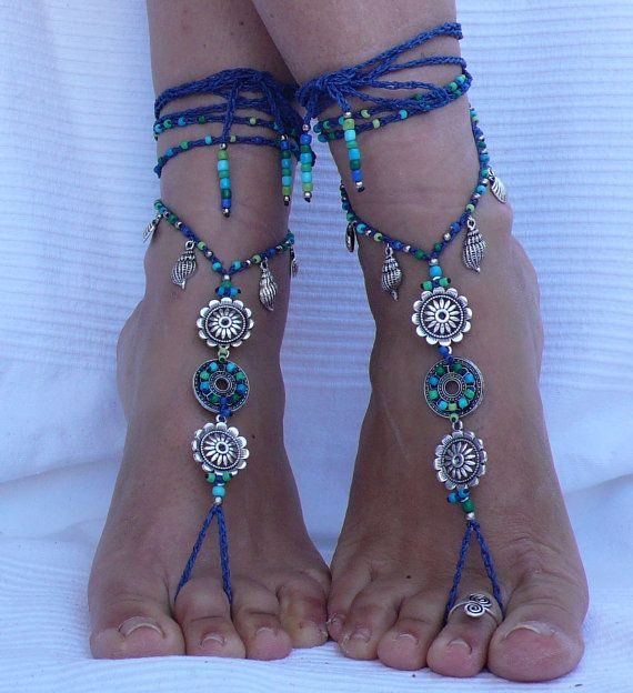 AQUARIUM MANDALA barefoot SANDALS foot jewelry hippie sandals toe ring anklet beaded crochet barefoot tribal sandal festival