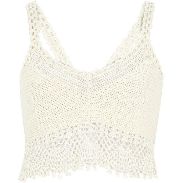 River Island White crochet bralet top ($34) ❤ liked on Polyvore featuring tops, shirts, bralet, crop top, knitwear, sale, white, women, bralet crop top and bralette crop top