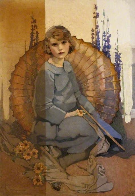 """Portrait of a girl in blue"" (1920 - 1927) By Norah Neilson Gray, from Helensburgh, Scotland (1882 - 1931) [The Glasgow School of Art or the Glasgow Girls] - oil on canvas; 127 x 101.6 cm - Glasgow Museums, Scotland, UK http://www.glasgowlife.org.uk/museums/our-museums/Pages/home.aspx"