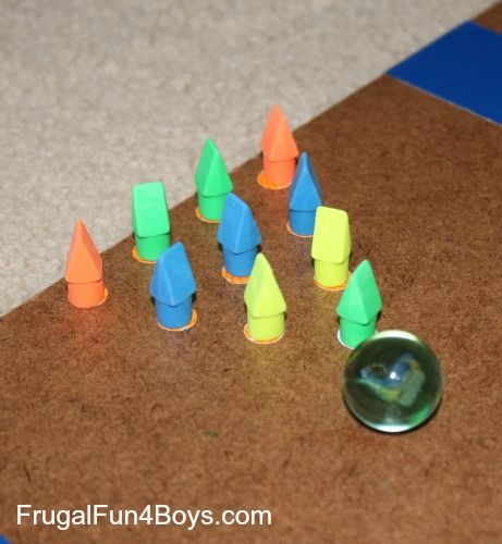 DIY Marble Bowling Game - great idea for practicing subtraction. For more pins like this visit: http://pinterest.com/kindkids/making-math-meaningful-charlotte-s-clips/
