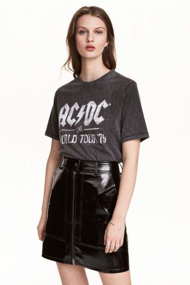 T-shirt z nadrukiem - Czarny AC/DC - ONA   H&M PL