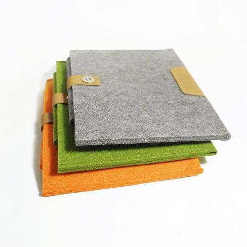 Wool Felt/Genuine Leather Case Sleeve Bag Cover for iPad 1, 2, 3 the New iPad