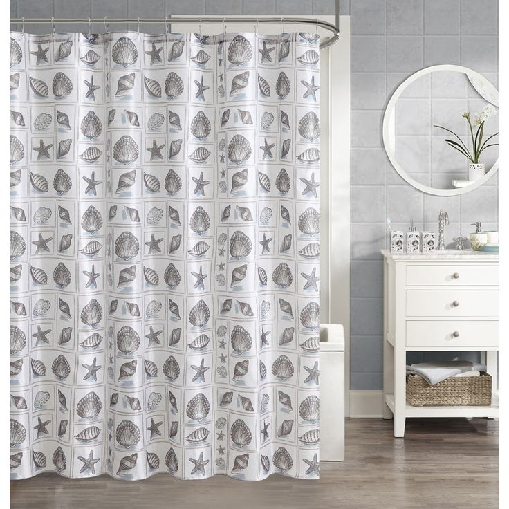 bring the best of the seashore to your bathroom with this seashell shower curtain the natural tones finish the look for a refreshing set