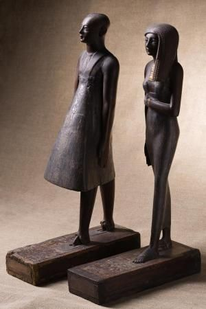 Statuettes of high priest Amenhotep and priestess Renai 15th century BCE.