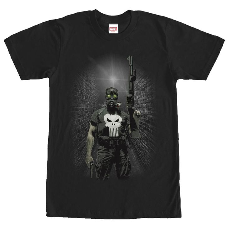 Punisher Alley - As a former Marine, Frank Castle has Special Forces training on the Marvel Punisher Gas Mask Black T-Shirt. The Punisher is portrayed wearing a gas mask, with the white skull emblem on his shirt, on this black Punisher shirt.