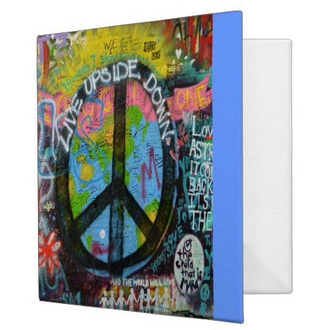 Live Upside Down Peace Sign Wall 3 Ring Binder