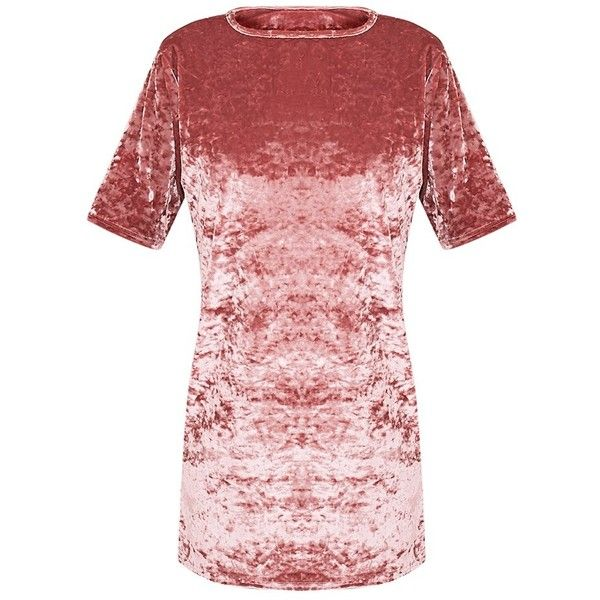 Maylia Dusty Pink Crushed Velvet T Shirt Dress ($32) ❤ liked on Polyvore featuring dresses, red t shirt dress, dusty pink dress, crushed velvet dress, red crushed velvet dress and t shirt dress
