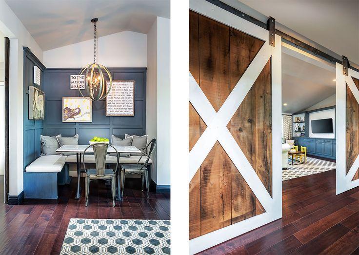 Scottsdale Transitional Remodel Modern Rustic Barn Doors, Painted Board And  Batten Eating Nook