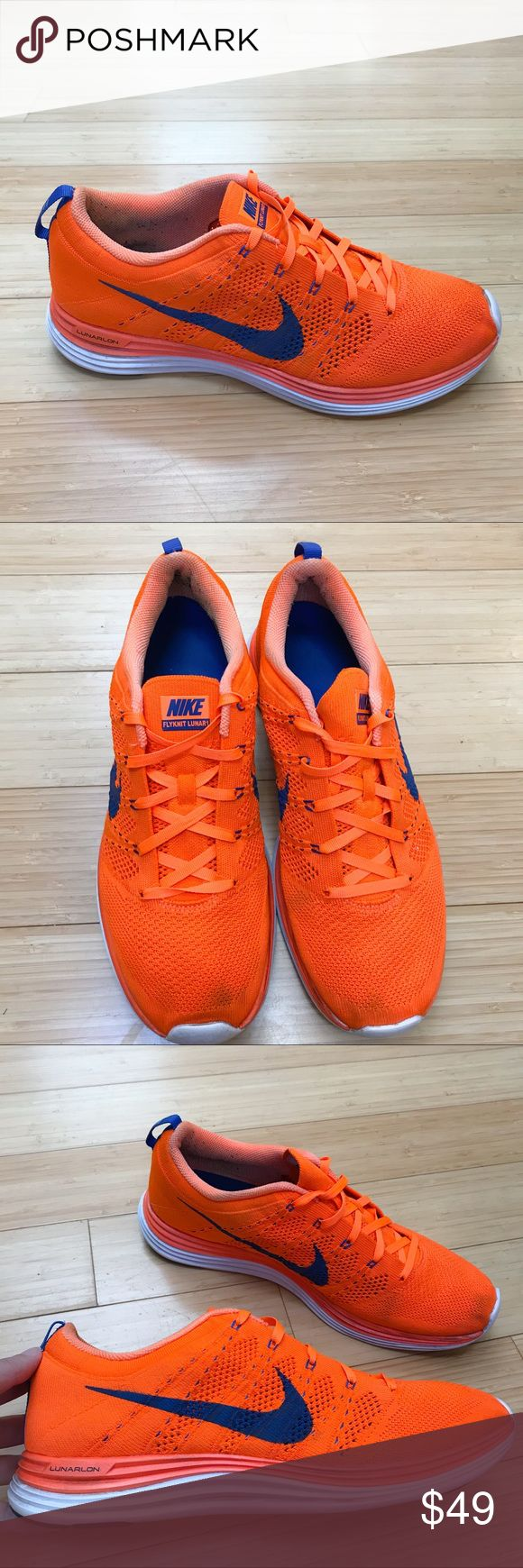 Mens NIKE Flyknit Lunar 1, 11. Men's orange and blue Nike Flyknit Lunar 1 total orange, size 11. Pre-loved but in generally good condition. There are some very light stains at the toes, and the soles are a bit dirty. Behind the heels there is some sock fuzz. Otherwise very good, very lightly used. Nike Shoes Sneakers