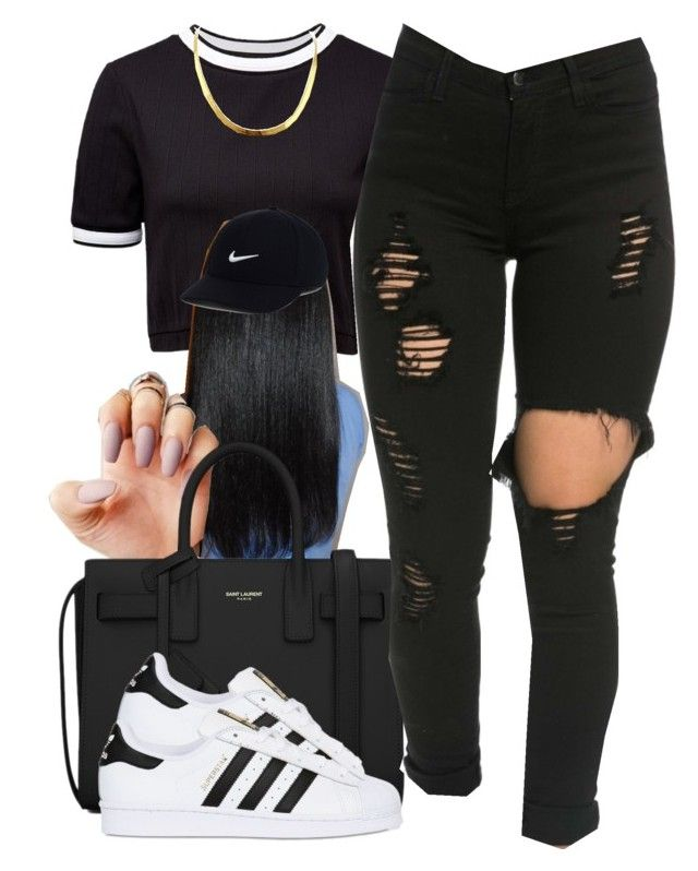 """YouTube: @Lightscamerasylvie"" by trillest-fashion ❤ liked on Polyvore featuring French Connection, Yves Saint Laurent, adidas Originals and NIKE"