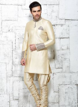 Beige designer Indian wedding wear kurta pajama in jute silk
