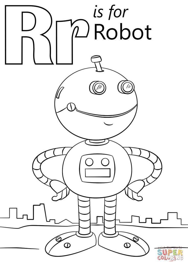 Letter R is for Robot coloring page from Letter R category. Select from 27511 printable crafts of cartoons, nature, animals, Bible and many more.