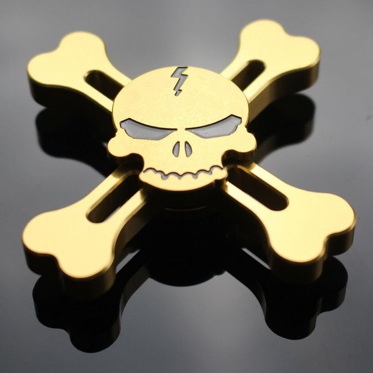 Gold and Silver ONE PIECE Skull Brass Fidget Hand Spinner Tri-spinner For Adult Reduce Pressure   #your #dogs #fleacollarfordogs@gmail #fleas #from #https://www #tick #save #lice #com
