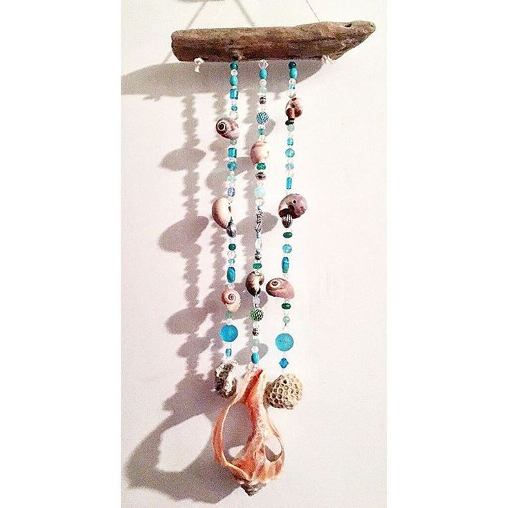 """Jersey Shore Driftwood Wind Chime beach inspired coral $20 7""""wide 15.5""""long #jerseyshore #driftwood #chipsaweighrecreations #wood #windchime #seashells #crystal #upcycle #recycle #reuse #repurpose #follow #etsy #etsyseller #conch #snail #coral  #♻ #njbeaches #nj  #chimes  #mswarrior #ms #seahorse #winterstorm #saltlife"""
