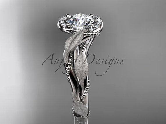 14kt white gold diamond leaf and vine wedding ring engagement