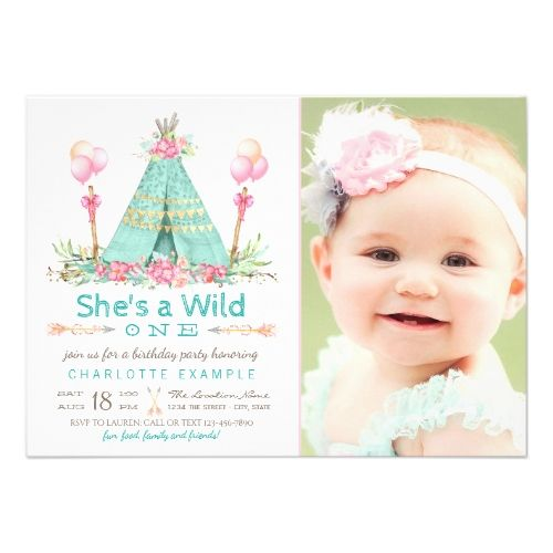 121 best girls 1st birthday party invitations images on pinterest girls 1st birthday party invitations wild one birthday party teepee first birthday card bookmarktalkfo Image collections