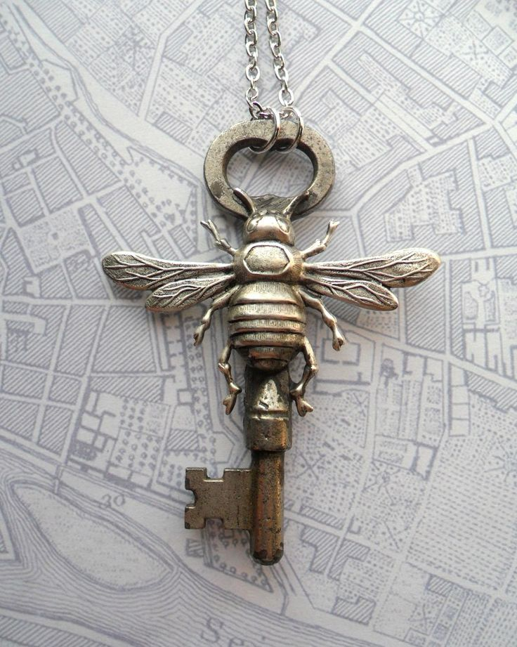 Silver Bee with Antique Skeleton Key Necklace
