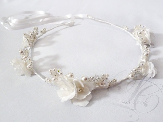 White Bridal Flower Crown Satin Flowers and Swarovski pearls by LysaCreation