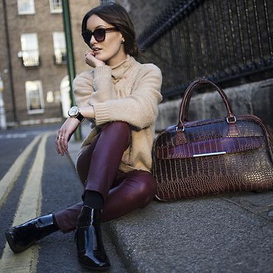Marciano Cable Knit, Dorothee Schumacher Leather Pants, Marks & Spencer Boots, Parfois Weekend Bag